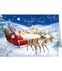 Mikołaj z reniferami kartka...