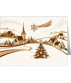 Pejzaż świąteczny kartka...